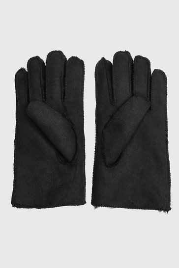 Black Faux Suede Fur Lined Gloves