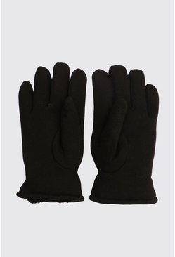 Faux Fur Lined Classic Gloves, Black, МУЖСКОЕ