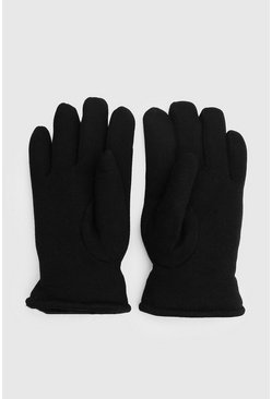 Faux Fur Lined Gloves, Black