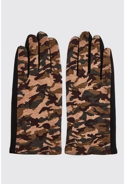 Mens Camo Faux Fur Lines Gloves