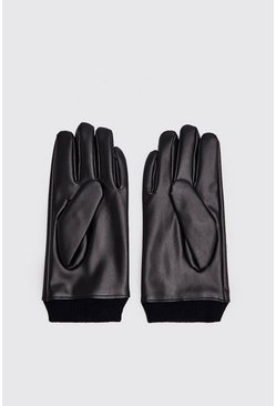 Mens Black Faux Leather Gloves