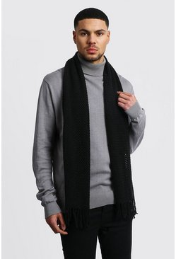Waffle Knitted Scarf, Black