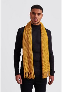 Mens Mustard Waffle Knitted Scarf