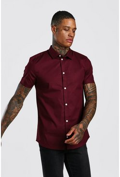 Wine Muscle Fit Short Sleeve Shirt