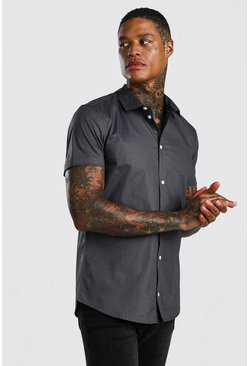 Muscle Fit Short Sleeve Shirt, Charcoal