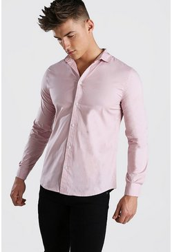Muscle Fit Long Sleeve Shirt, Pale pink