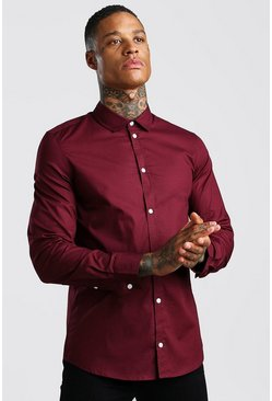 Wine Muscle Fit Long Sleeve Shirt