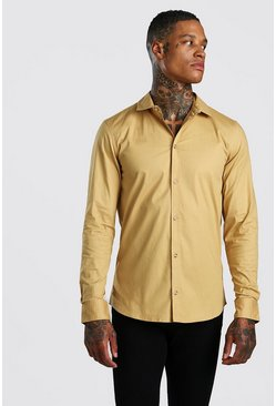 Muscle Fit Long Sleeve Shirt, Camel