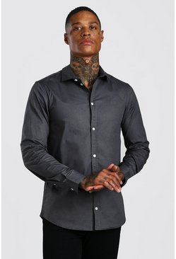 Muscle Fit Long Sleeve Shirt, Charcoal