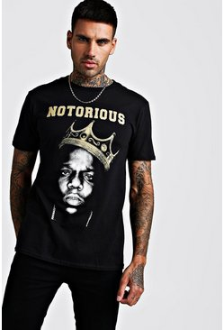 Mens Black Oversize Notorious Biggie T-Shirt