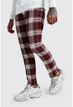 Tartan Ankle Zip Detail Smart Trouser, Burgundy