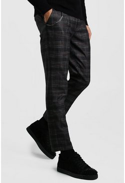 Grey Prince Of Wales Check Chain Detail Pants