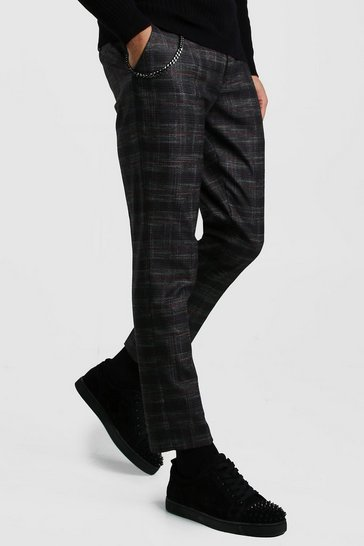 Grey Prince Of Wales Check Chain Detail Trouser