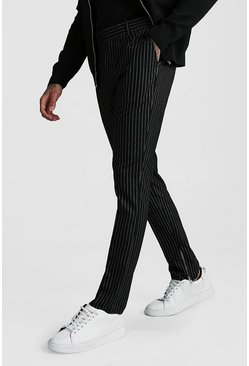 Stripe Ankle Zip Detail Smart Trouser, Black
