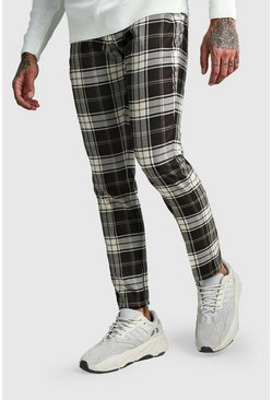 Grey Tartan Ankle Zip Detail Smart Pants