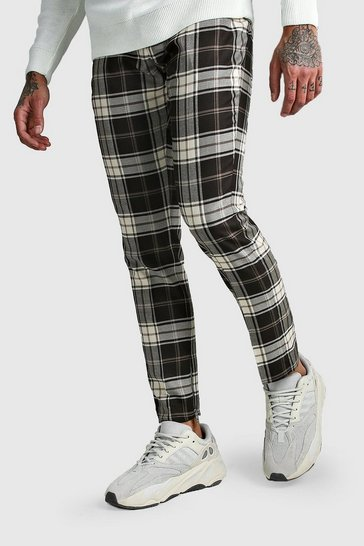 Grey Tartan Ankle Zip Detail Smart Trouser