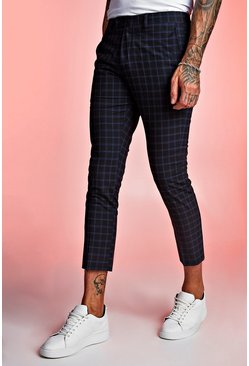 Tartan Skinny Fit Cropped Formal Trouser, Navy, МУЖСКОЕ