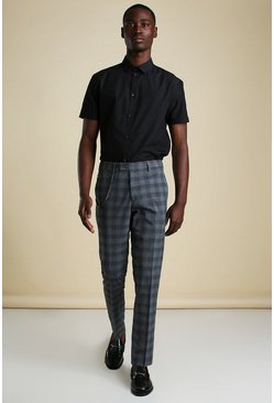 Mens Grey Large Check With Chain Detail Smart Trouser