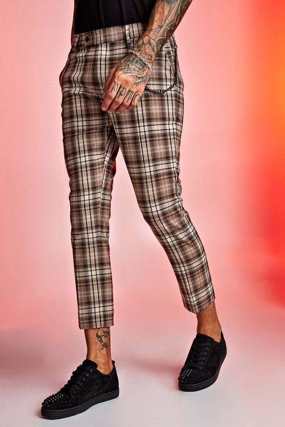Mens Beige Tartan Cropped Trouser With Chain Detail