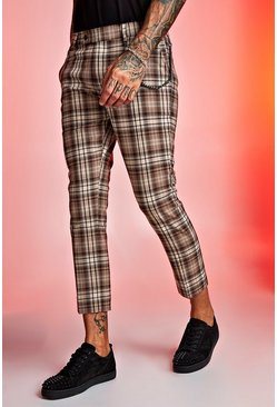 Tartan Cropped Trouser With Chain Detail, Beige, HOMMES