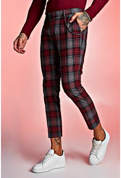Tartan Cropped Trouser With Chain Detail, Red, HOMMES
