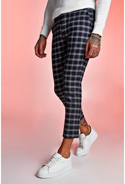Textured Check Smart Cropped Trouser, Navy, МУЖСКОЕ