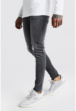 Skinny Jeans With Ripped Knees, Dark grey, HOMBRE