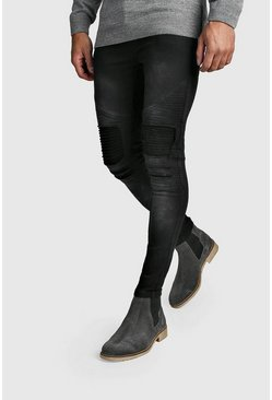 Mens Charcoal Washed Slim Fit Biker Jeans