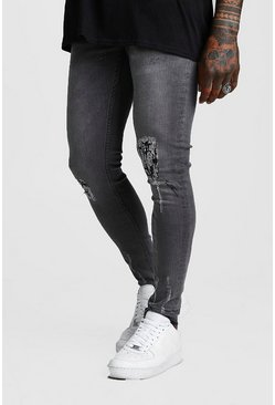 Distressed Skinny Fit Jeans, Black, Homme