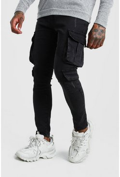 Charcoal Skinny Fit Cargo Jeans