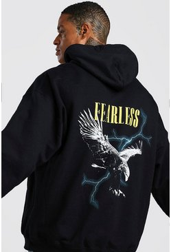 Herr Black Oversized Eagle Graphic Back Print Hoodie