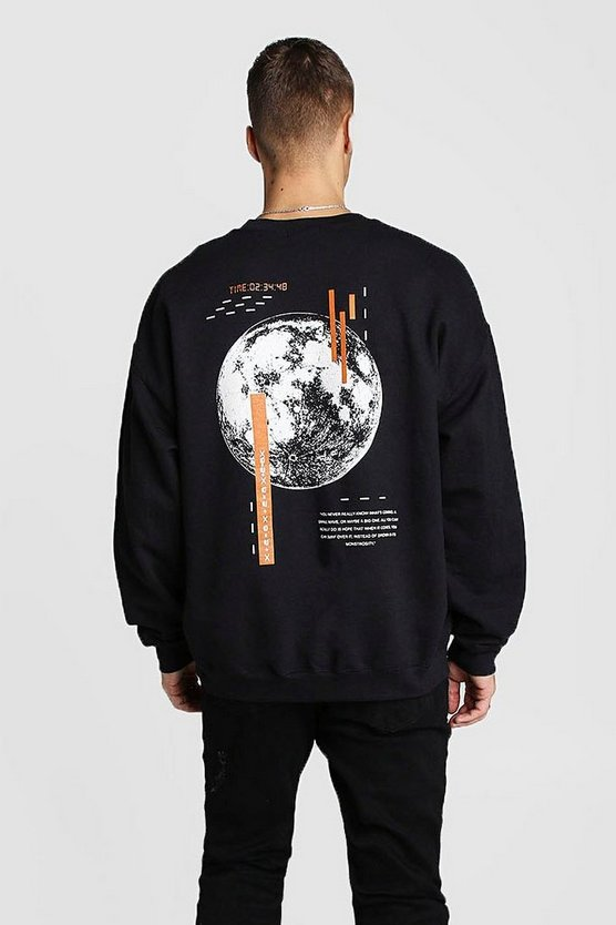 Black Oversized Sweat With Back Graphic Print