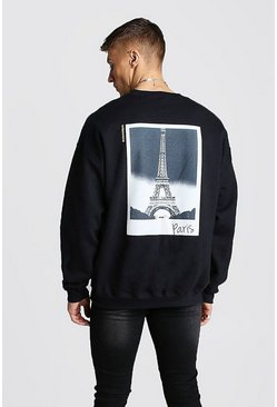 Mens Black Oversized Paris Graphic Back Print Sweat