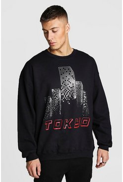 Mens Black Oversized City Foil Print Sweatshirt