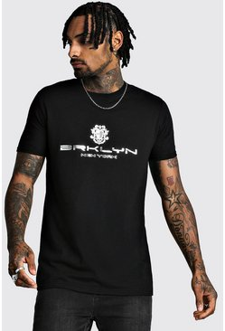 Brooklyn Foil Print T-Shirt, Black, HERREN
