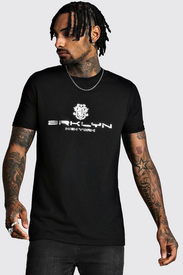 Mens Black Brooklyn Foil Print T-Shirt