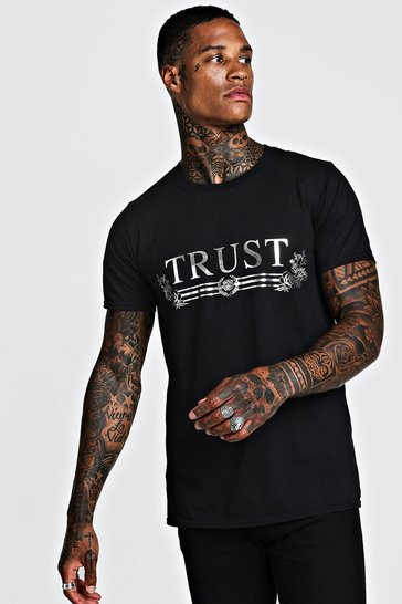 Mens Black Trust Foil Print T-Shirt