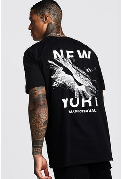Mens Black Oversized New York Graphic Print T-Shirt