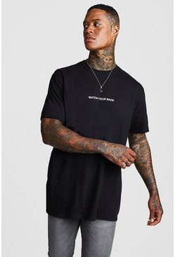 Oversized Watch Your Back T-Shirt, Black, МУЖСКОЕ