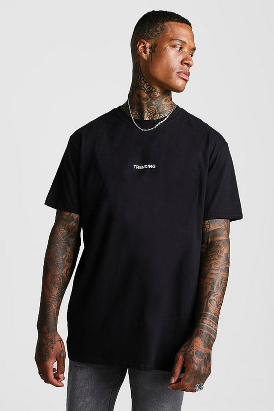 Mens Black Oversized Trending Slogan T-Shirt