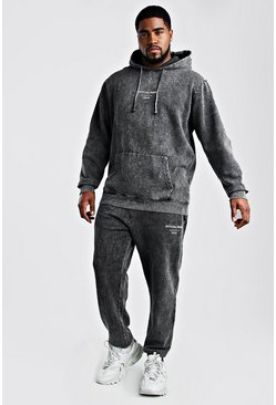 Black Big And Tall MAN Acid Wash Hooded Tracksuit