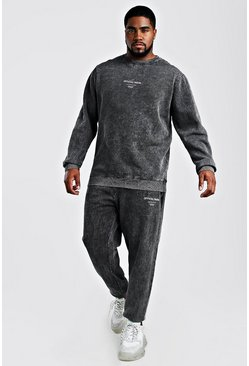 Mens Black Big And Talll MAN Acid Wash Sweater Tracksuit