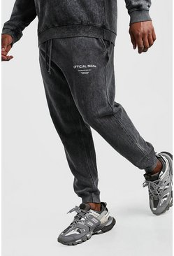 Black Big And Tall Official Man Acid Wash Jogger