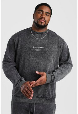 Big And Tall Official MAN Acid Wash Sweater, Black, HERREN