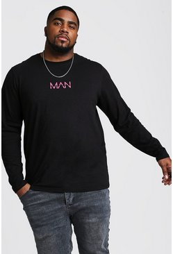 Black Big And Tall MAN Dash Long Sleeve T-Shirt