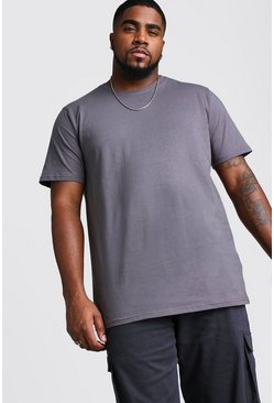 Big And Tall Longline Basic T-Shirt, Charcoal