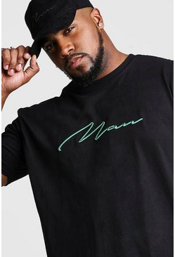 Black Big & Tall - MAN Script T-shirt med 3D-brodyr