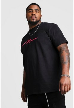 Mens Black Big And Tall 3D MAN Script T-Shirt