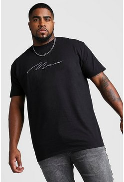 Big And Tall 3D MAN Script T-Shirt, Black