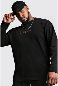 Big And Tall MAN Script Long Sleeve T-Shirt, Black